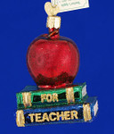"Teacher's Apple Glass Ornament, 3 1/2"", OWC #36128"