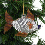 Golden Fins Fish Mouth Blown Egyptian Glass Ornament