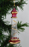 Lighthouse Mouth Blown Egyptian Glass Ornament - Clear with Red