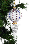 Frosted USA Beads Top Melon Egyptian Glass Ornament