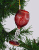 Red Wine Glass Mouth Blown Egyptian Glass Ornament on tree side