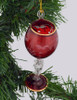 Red Wine Glass Mouth Blown Egyptian Glass Ornament on tree front