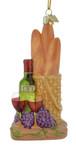 Bread and Wine Basket Glass Ornament by Kurt Adler nb1348