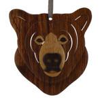 Brown Bear Intarsia Wood Ornament
