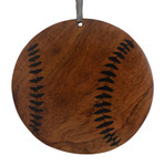 Baseball Intarsia Wood Ornament