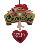 "Love Chocolate and WiFi Ornament, 3 3/4"", KAA1771"