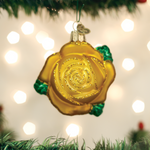 """Yellow Rose Glass Ornament, 3"""", OWC# 36250"""