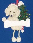 "Personalized White Poodle Ornament, 4 5/8"", #EI35356-28"