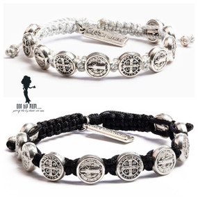 My Saint My Hero Benedictine Blessings Bracelet Silver medals on Black and Metallic cord.