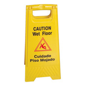 "WET FLOOR CAUTION SIGN, YELLOW, 24"" H X 12"" W, PLASTICS"