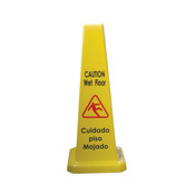 "CONE SHAPE WET FLOOR CAUTION SIGN, 27"" H, PLASTICS,"