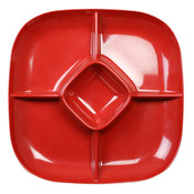"15"" X 15"" CHIP AND DIP PLATTER, 1 3/4"" DEEP, PASSION RED"