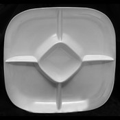 """15"""" X 15"""" CHIP AND DIP PLATTER, 1 3/4"""" DEEP, PASSION WHITE"""