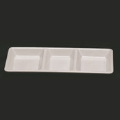 """28 OZ, 15"""" X 6 1/4"""" X 1 3/8"""", RECTANGULAR 3 SECTION COMPARTMENT TRAY, PASSION WHITE"""