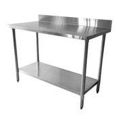 """24""""X48""""X35"""", 430 STAINLESS STEEL WORKTABLE, FLAT TOP WITH 4"""" BACKSPLASH"""