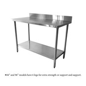 """24""""X60""""X35"""", 430 STAINLESS STEEL WORKTABLE, FLAT TOP WITH 4"""" BACKSPLASH"""