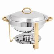 4 QT GOLD ACCENTED ROUND CHAFER