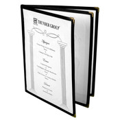 "3 PAGE BOOK FOLD MENU COVER, 8 1/2"" X 11"", BLACK"