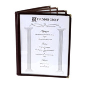 "4 PAGE BOOK FOLD MENU COVER, 8 1/2"" X 11"", BROWN"