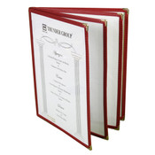 "4 PAGE BOOK FOLD MENU COVER, 8 1/2"" X 11"", MAROON"