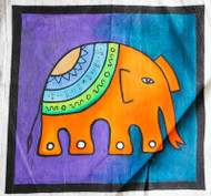 "Free Hand Drawn Decorative Elephant Cushion Cover 16""x16"""