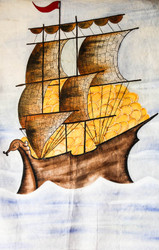 "Fabric Wall Art of a Yatch without Frame - 30"" H x 22"" W"