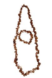 Handmade Seashells Necklace, Earings & Bracelet Full Set - Brown