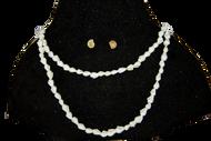 Handmade Natural Seashells Necklace & Earings - Pearl white