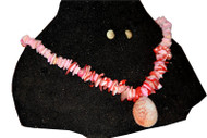 Coral Stoned Necklace, Light Pink with Pendant