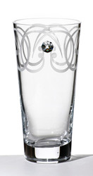 Tall Elegant Thick Hand Blown Glass Flower Vase with Swarovski Crystal