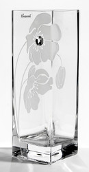 Tall Square Elegant Unique Hand Blown Glass Flower Vase with a Large Swarovski Crystal and Flower Decoration - 30cm