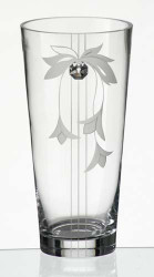 24 cm Elegant Thick Unique Hand Blown Glass Flower Vase with Swarovski Crystal and Flower Decoration…