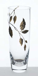 25 cm Elegant Thick Hand Blown Glass Flower Clear Vase with Golden Painted Leaves…