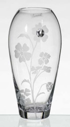 26 cm Elegant Thick Unique Hand Blown Glass Vase with Swarovski Crystal and Engraved Flower Decoration…