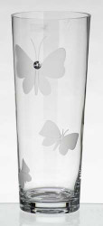 32 cm Tall Elegant Thick Hand Blown Glass Flower Vase with Swarovski Crystal and Engraved Butterflies…