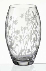 24 cm Elegant Thick Unique Hand Blown Glass Flower Vase with Engraved and Sandblasted Meadow Flowers…