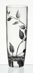 25 cm Elegant Thick Hand Blown Glass Flower Clear Vase with Engraved and Painted Silver Leaves…