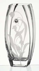 32 cm Elegant Thick Unique Hand Blown Glass Vase with Swarovski Crystal and Engraved Flower Decoration…