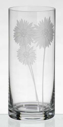28 cm Tall Elegant Unique Hand Blown Glass Flower Vase with Engraved and Sandblasted Flowers…