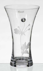 25 cm Elegant Thick Unique Hand Blown Glass Vase with Swarovski Crystal and Engraved Flower Decoration…