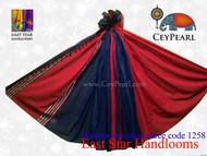 Handloom Cotton Saree - 1258 - Burgundy & Royal Blue
