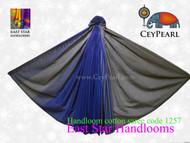 Handloom Cotton Saree - 1257 - Gray & Royal Blue