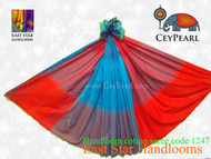 Handloom Cotton Saree - 1247 - Cyan & Orange