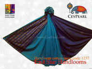 Handloom Cotton Saree - 1237 - Eggplant, Cyan & Old Gold