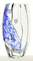 26 cm Elegant Hand Blown Glass Vase, Painted Blue and Golden