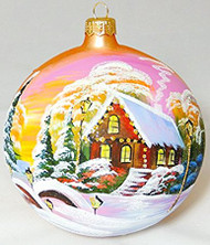 Large Unique Handmade Christmas Bauble glass ornament WINTER SCENERY - golden, diameter 4.7 in (12 cm)