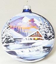 Large Unique Handmade Christmas Tree Ball glass ornament MOUNTAIN HUT & RIVER - sapphire, 4.7 in (12 cm)