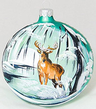 Large Unique Handmade Christmas Tree Ball glass ornament DEER & FOREST- turquoise, 4.7 in (12 cm)