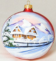 Large Unique Handmade Christmas Bauble glass ornament MOUNTAIN HUTS - red, diameter 4.7 in (12 cm)