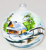 Large Unique Handmade Christmas Bauble glass ornament WINTER SCENERY - white, 4.7 in (12 cm)